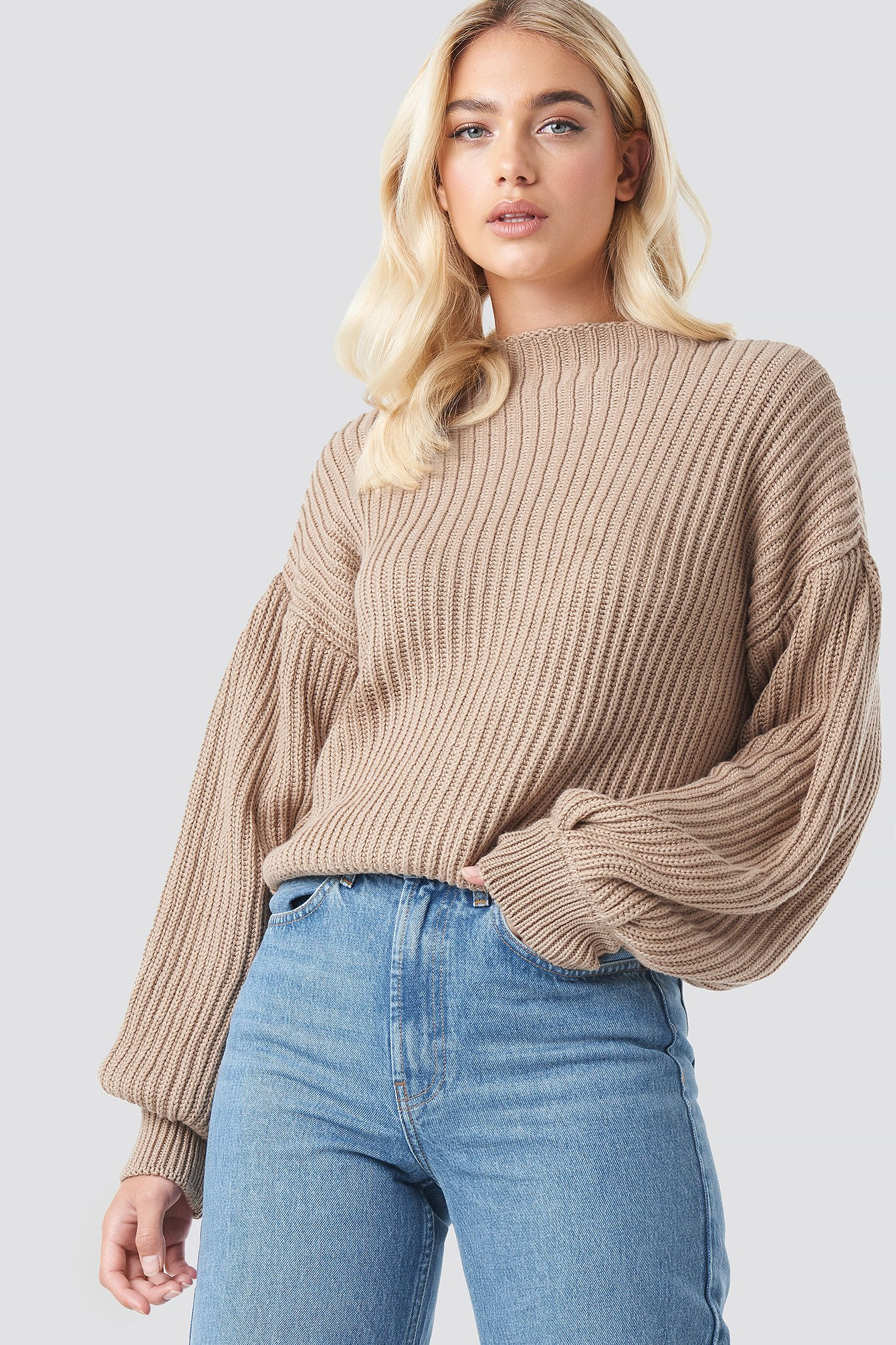 na-kd -  Balloon Sleeve Knitted Sweater - Beige