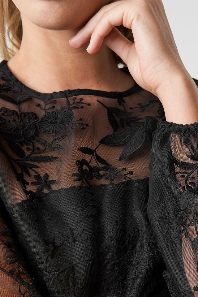 Balloon Sleeve Lace Blouse Black