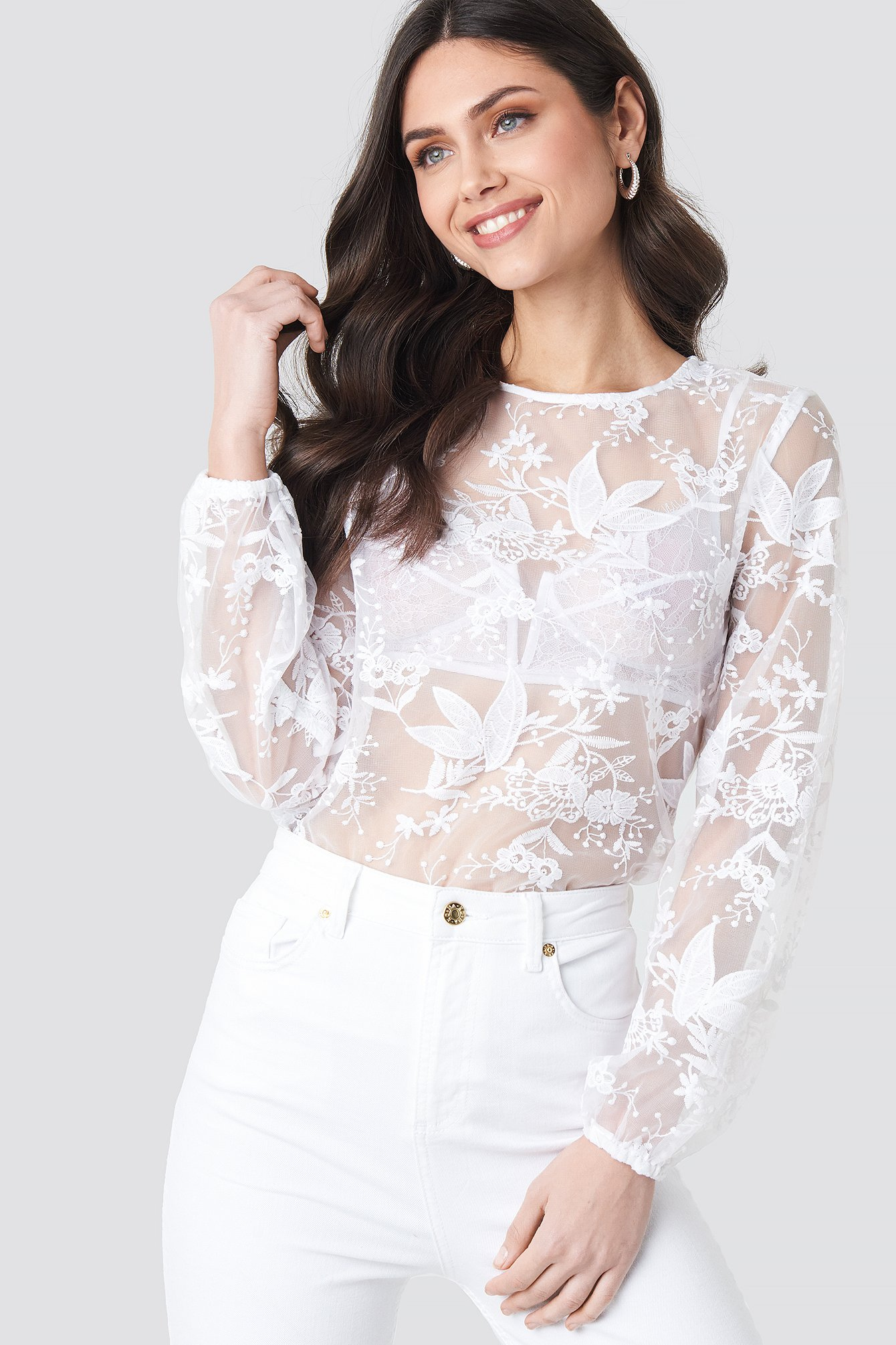 Balloon Sleeve Lace Blouse NA-KD.COM