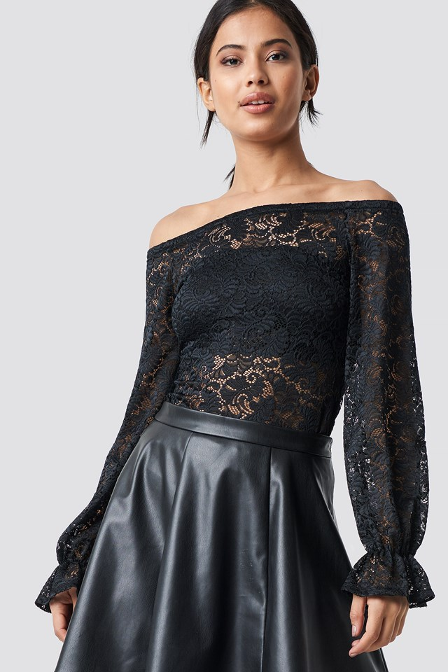 Balloon Sleeve Lace Top Black