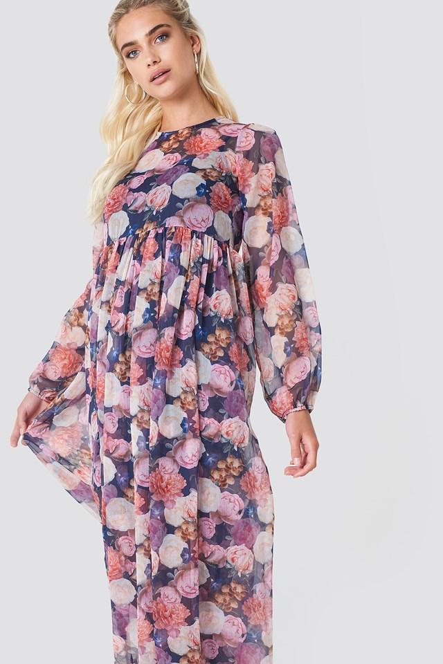 Balloon Sleeve Maxi Dress Oil Flowers