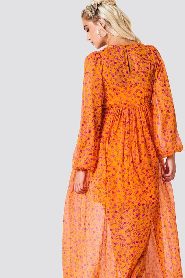 Balloon Sleeve Maxi Dress Orange Blossom Pattern