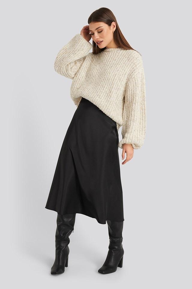 Balloon Sleeve Melange Sweater Beige