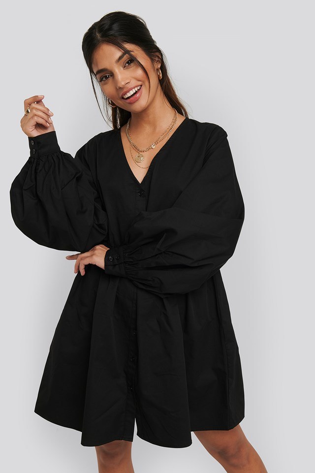 Balloon Sleeve Mini Shirt Dress Black