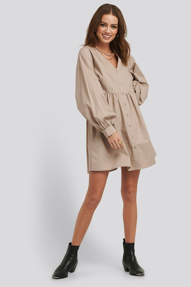 Balloon Sleeve Mini Shirt Dress Beige