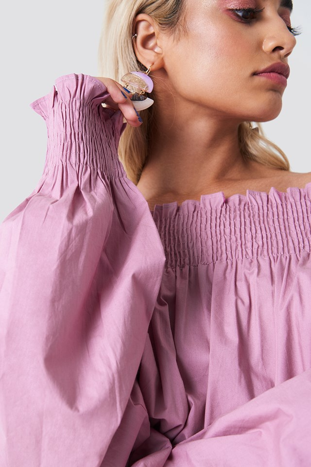 Balloon Sleeve Off Shoulder Blouse Dusty Pink