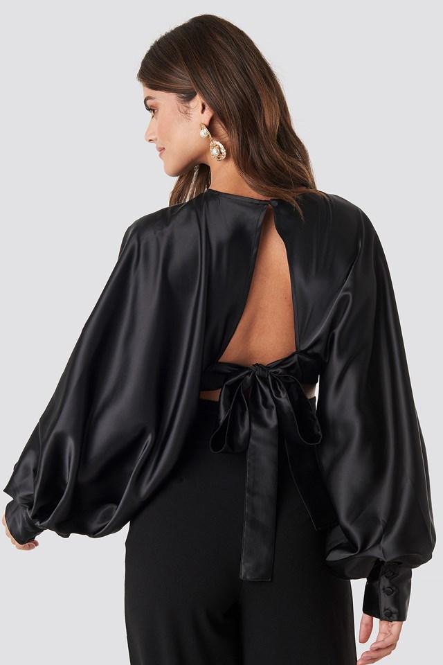 Balloon Sleeve Open Back Blouse Black
