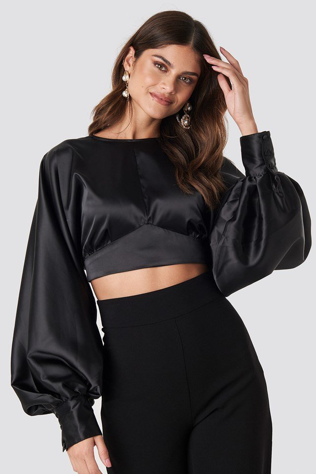 Balloon Sleeve Open Back Blouse Black
