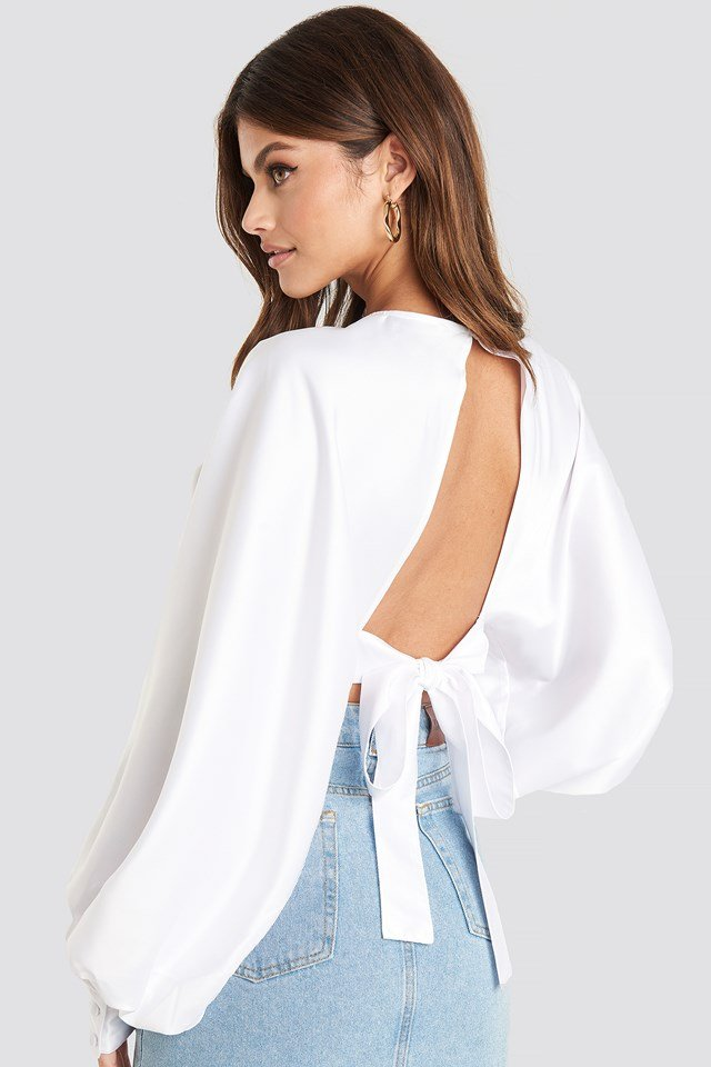 Balloon Sleeve Open Back Blouse White