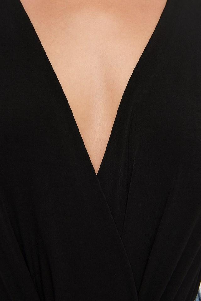Overlap Body Blouse Black