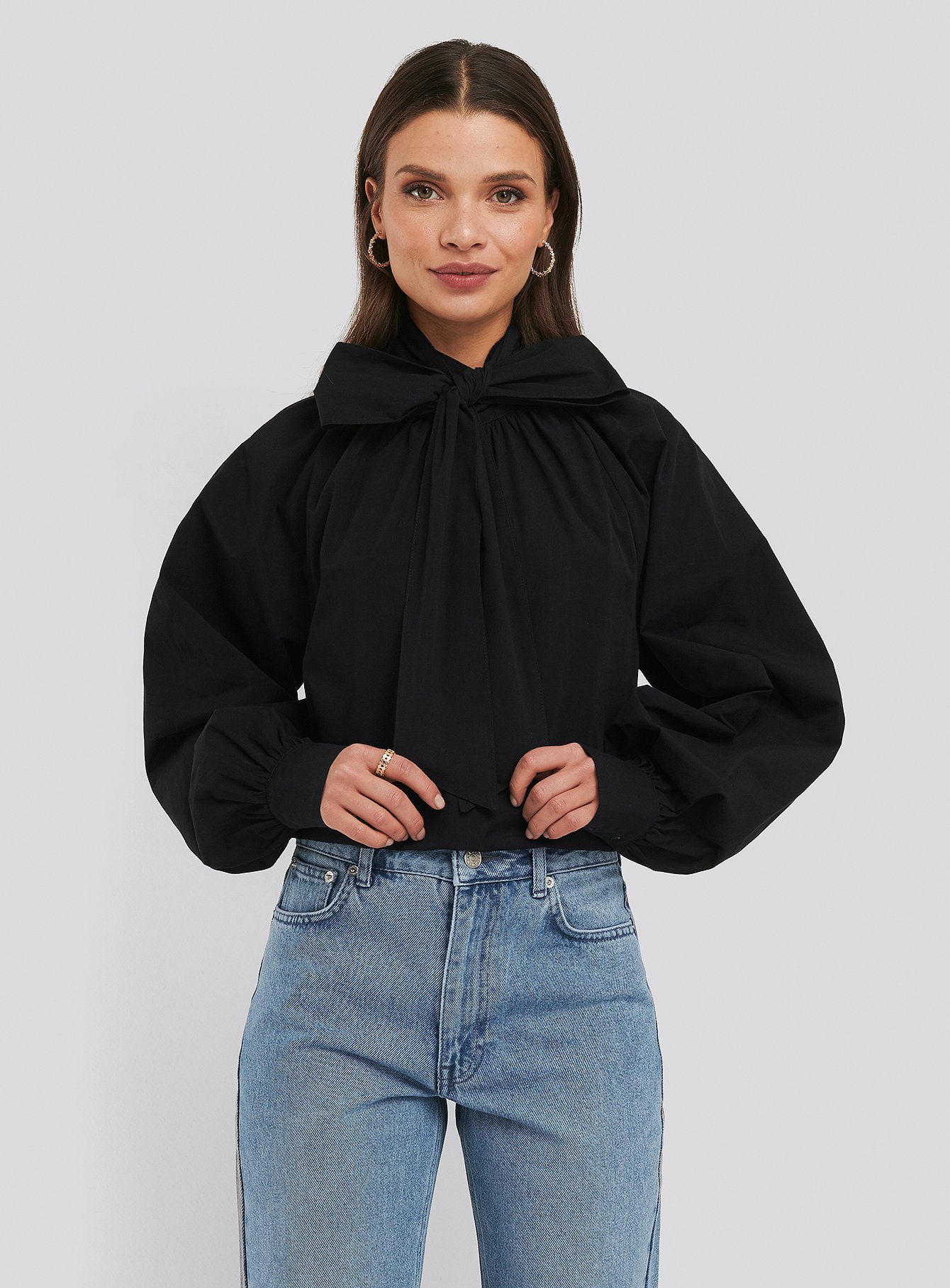 Deep Black Balloon Sleeve Pussy Bow Boxy Blouse
