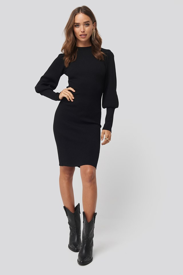 Balloon Sleeve Ribbed Knitted Dress Black
