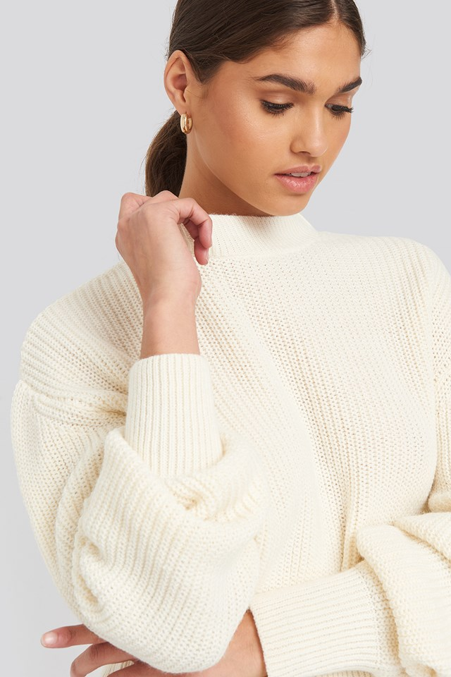 Balloon Sleeve Ribbed Sweater White