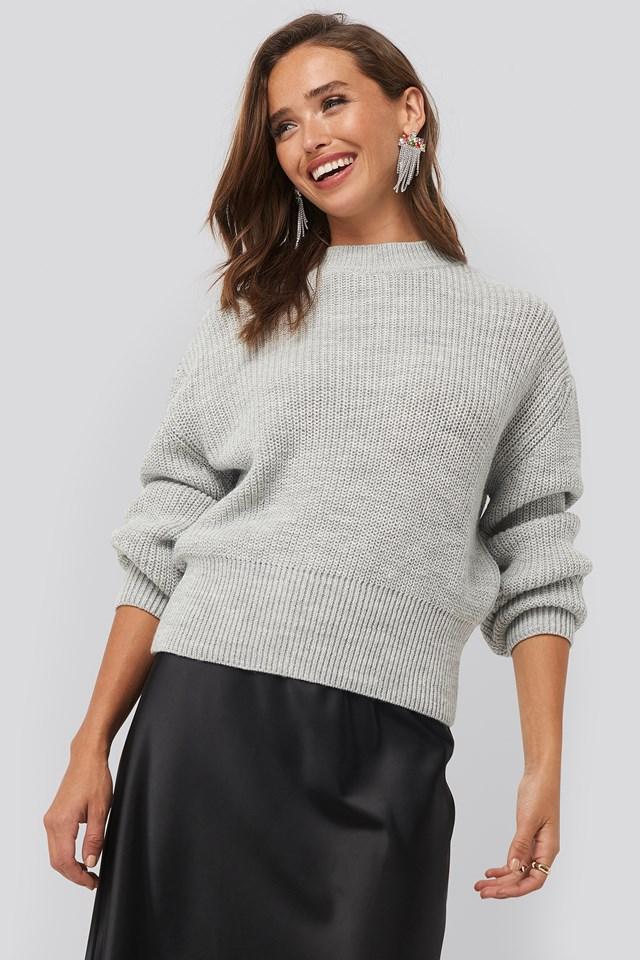 Balloon Sleeve Ribbed Sweater Grey