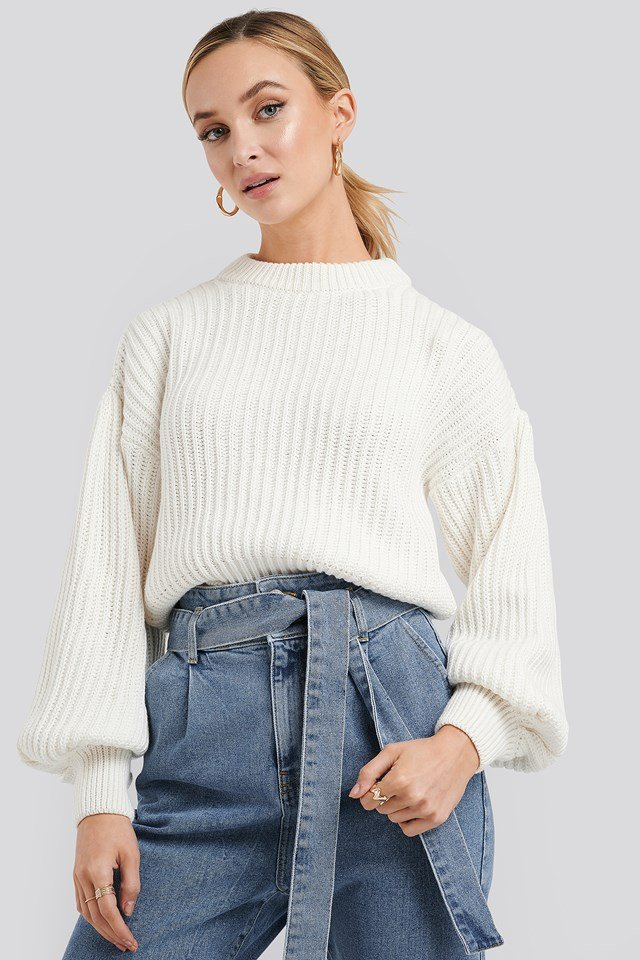 Balloon Sleeve Round Neck Sweater Offwhite