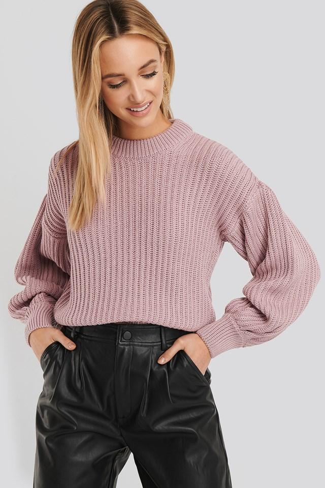 Balloon Sleeve Round Neck Sweater Lilac