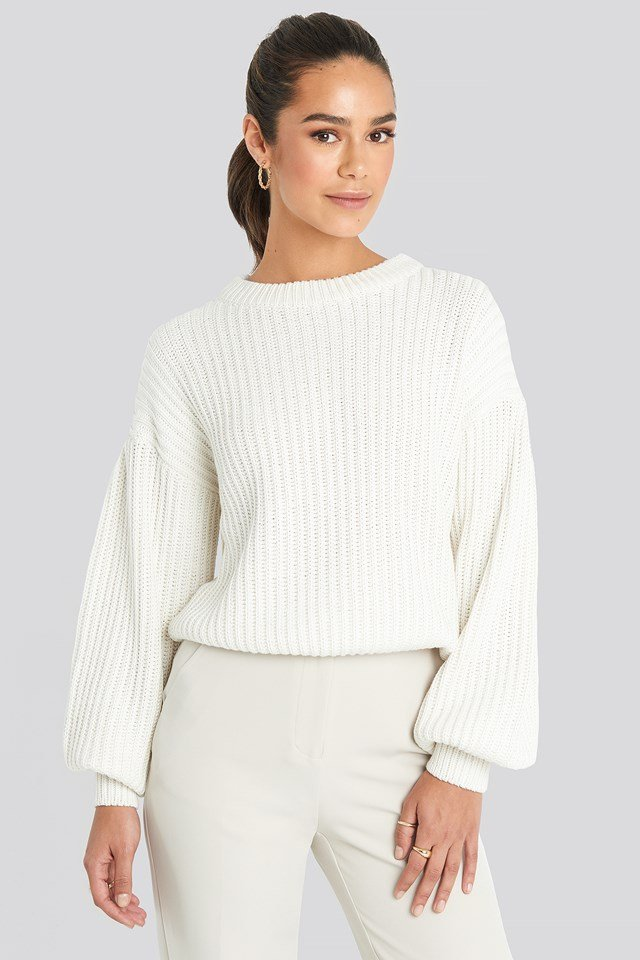 Balloon Sleeve Round Neck Sweater Offwhite