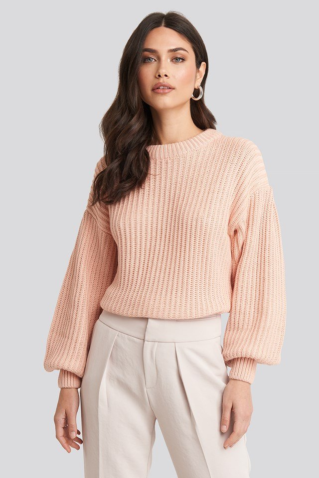 Balloon Sleeve Round Neck Sweater Dusty Light Pink