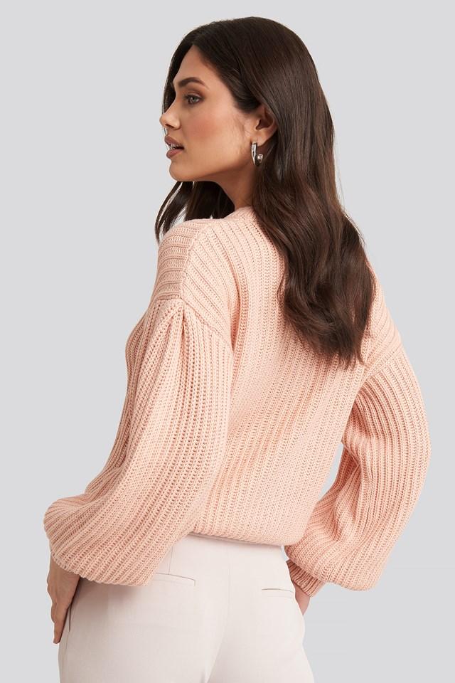 Balloon Sleeve Round Neck Sweater Dusty Light Pink