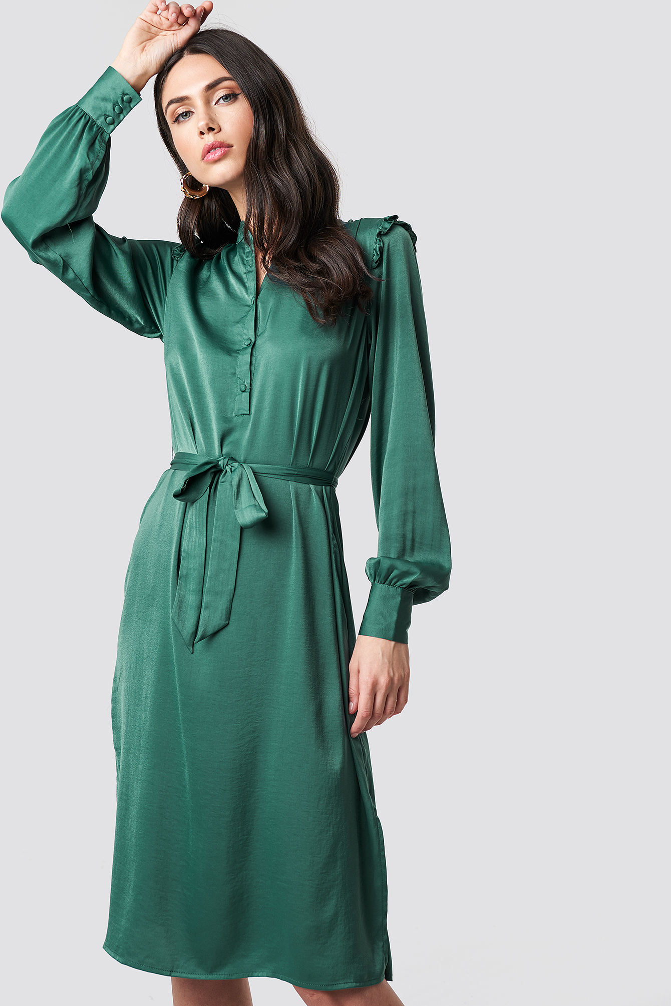 Balloon Sleeve Ruffle Shoulder Midi Dress NA-KD.COM