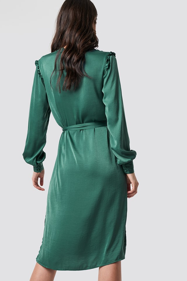 Balloon Sleeve Ruffle Shoulder Midi Dress Dark Green