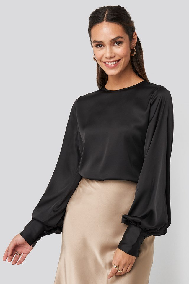 Balloon Sleeve Satin Blouse Black