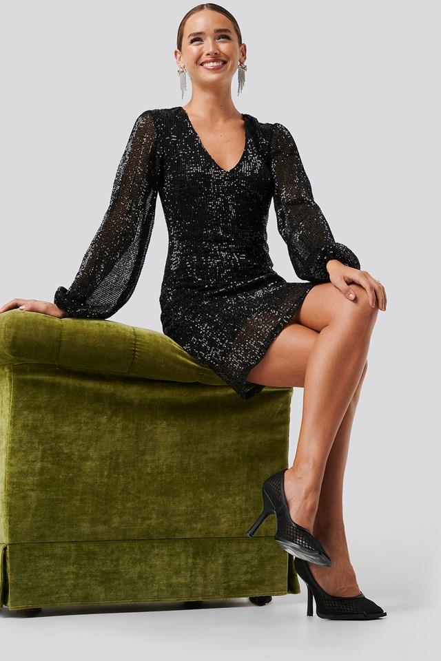 Balloon Sleeve Sequin Mini Dress Black
