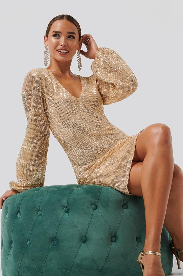 Balloon Sleeve Sequin Mini Dress Gold