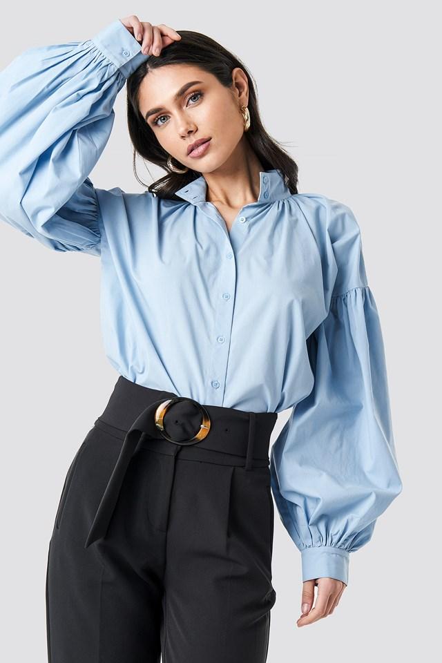 Balloon Sleeve Shirt Blue