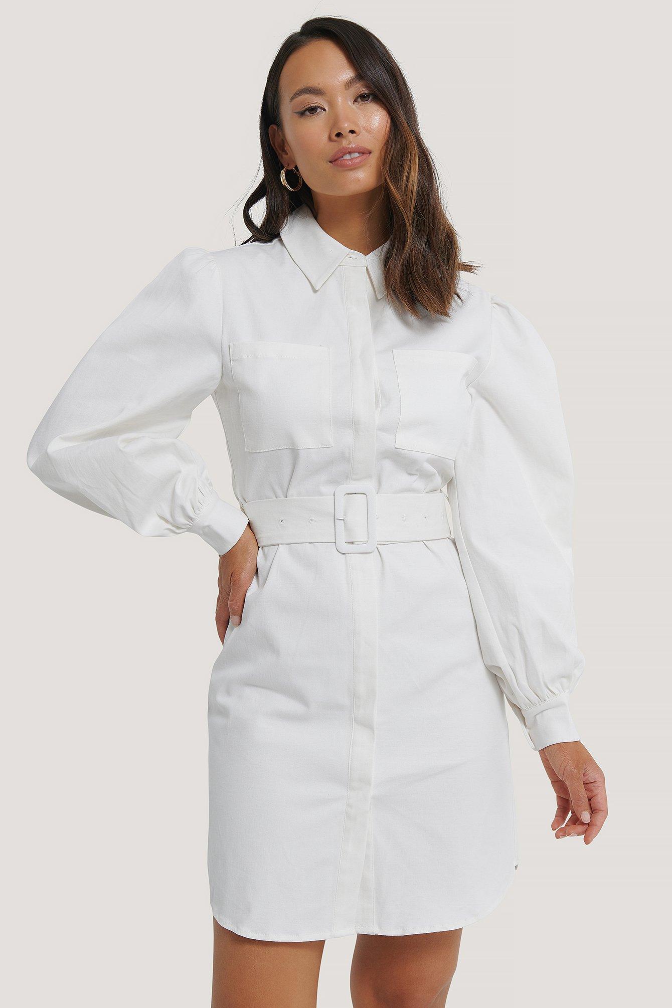 NA-KD Hemdkleid Mit Gürtel - White | Bekleidung > Kleider > Blusenkleider | NA-KD
