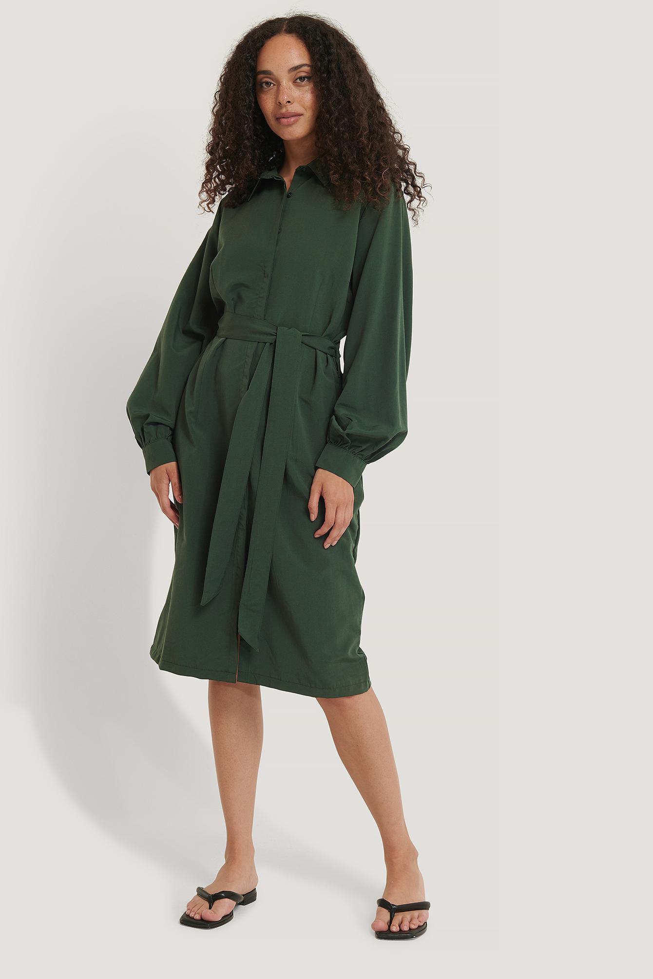 NA-KD Hemdkleid Mit Ballonärmeln - Green | Bekleidung > Kleider > Blusenkleider | NA-KD