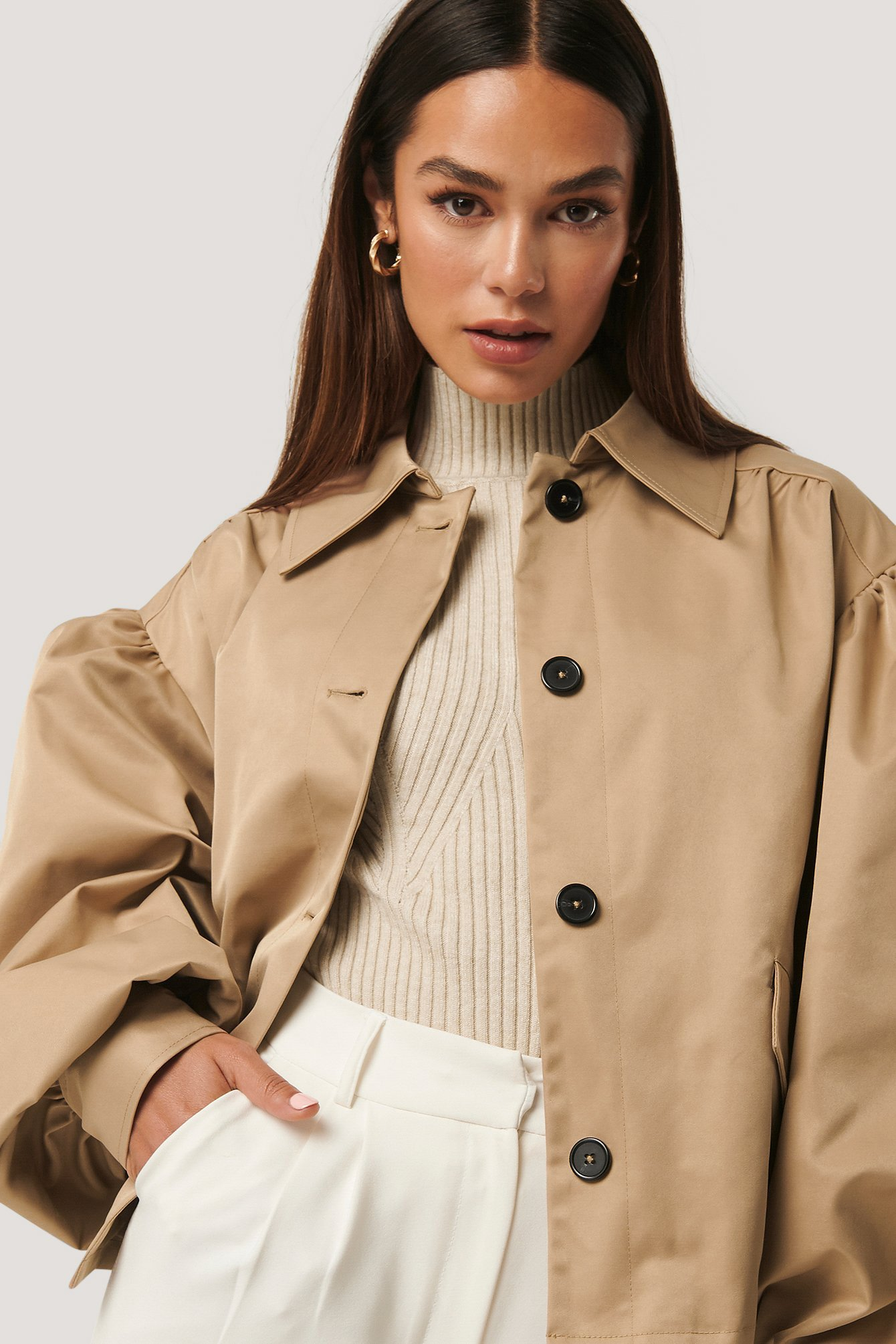 na-kd trend -  Balloon Sleeve Short Jacket - Beige