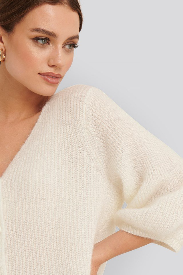 Balloon Sleeve Short Knitted Cardigan Offwhite