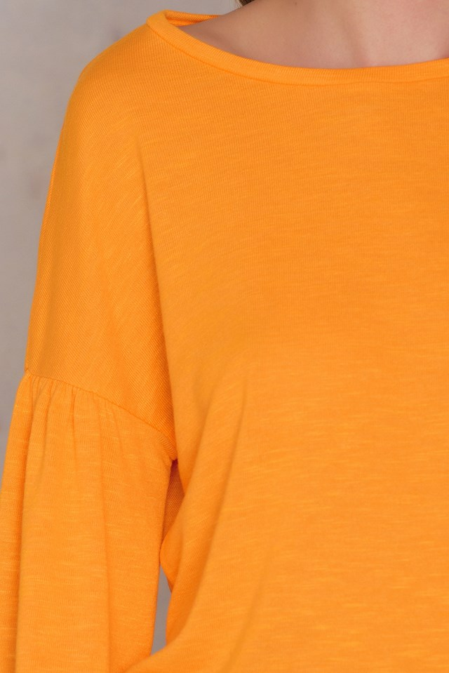 Balloon Sleeve Sweater Orange