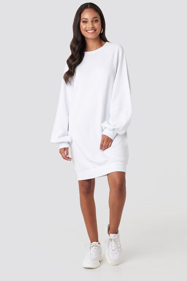 Balloon Sleeve Sweatshirt Mini Dress Optical White