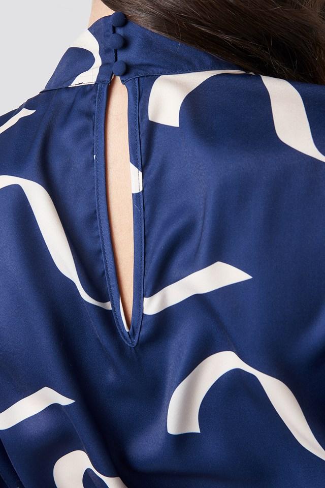 Balloon Sleeve Tied Waist Printed Dress Wave Blue