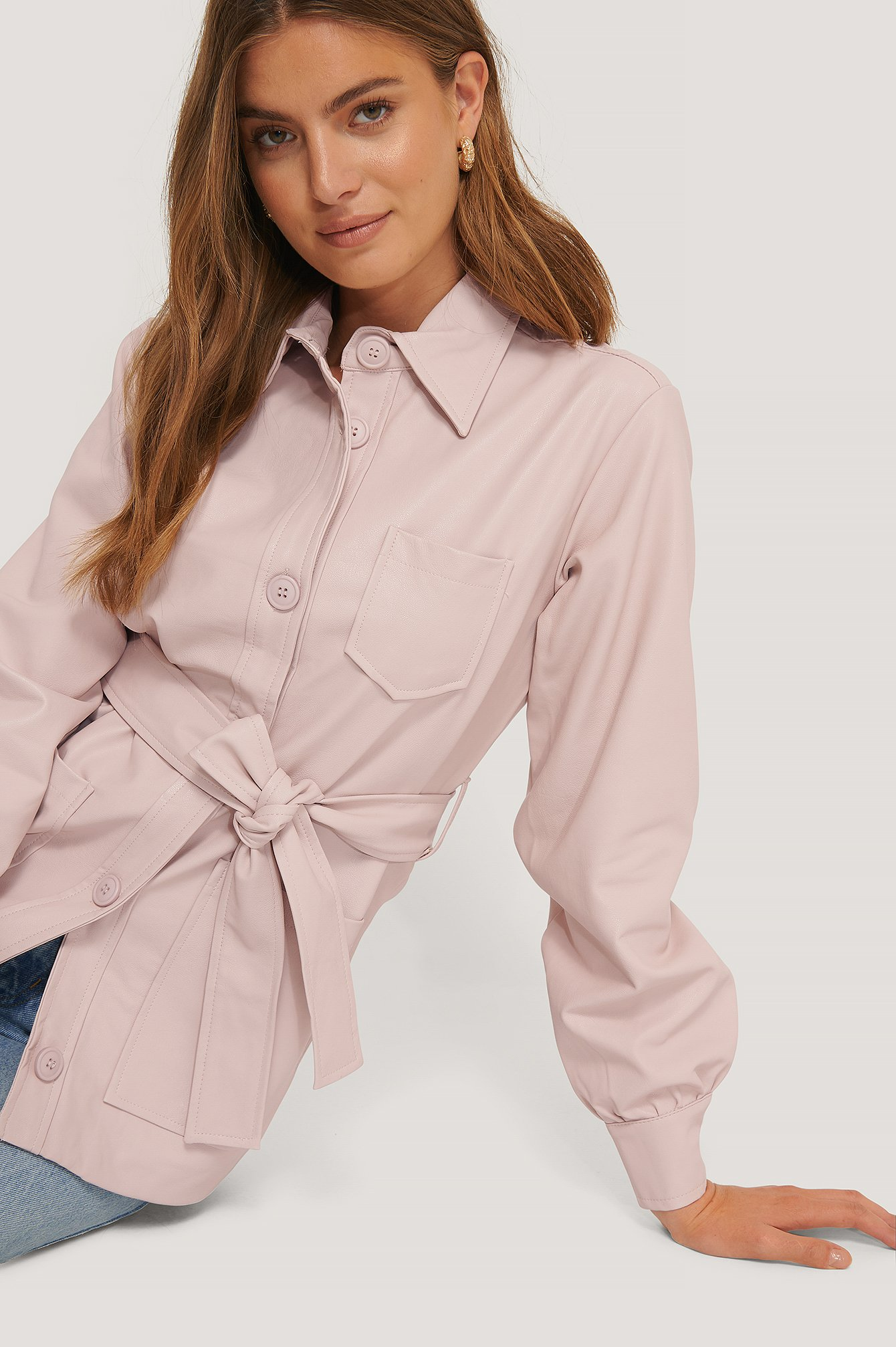 na-kd trend -  Balloon Sleeve Tied Waist Pu Jacket - Pink