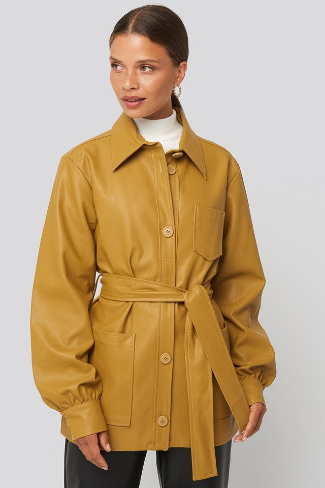 Balloon Sleeve Tied Waist Pu Jacket Mustard