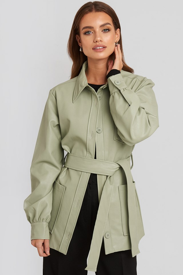 Balloon Sleeve Tied Waist Pu Jacket Pastel Green