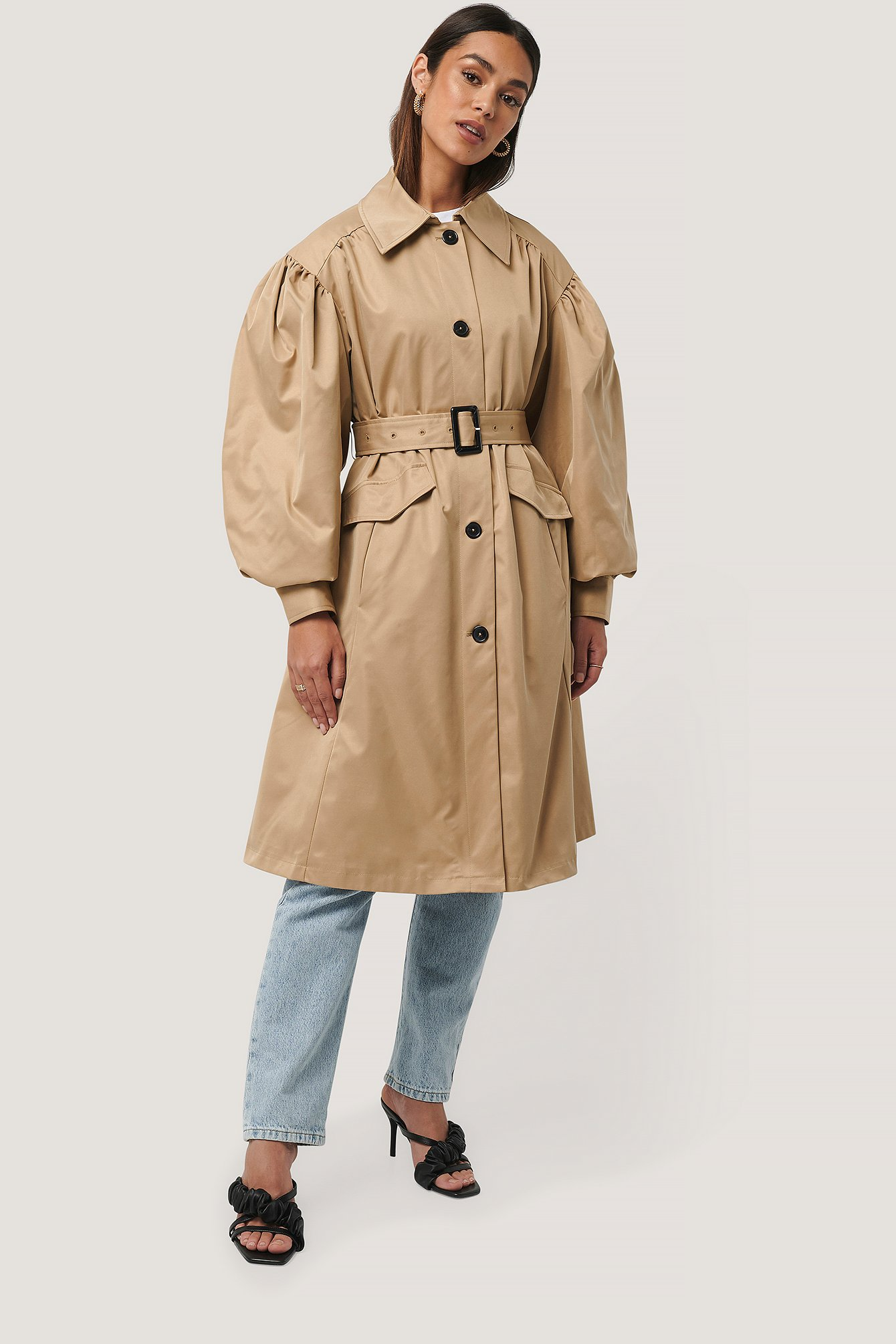 na-kd trend -  Balloon Sleeve Trench Coat - Beige