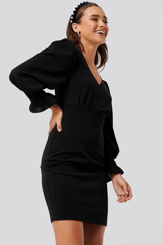 Balloon Sleeve V-neck Dress Black