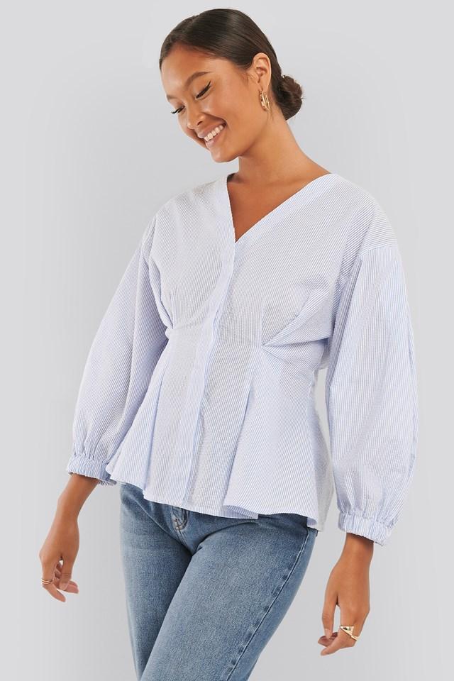 Balloon Sleeve V-Neck Shirt Blue/White Stripe