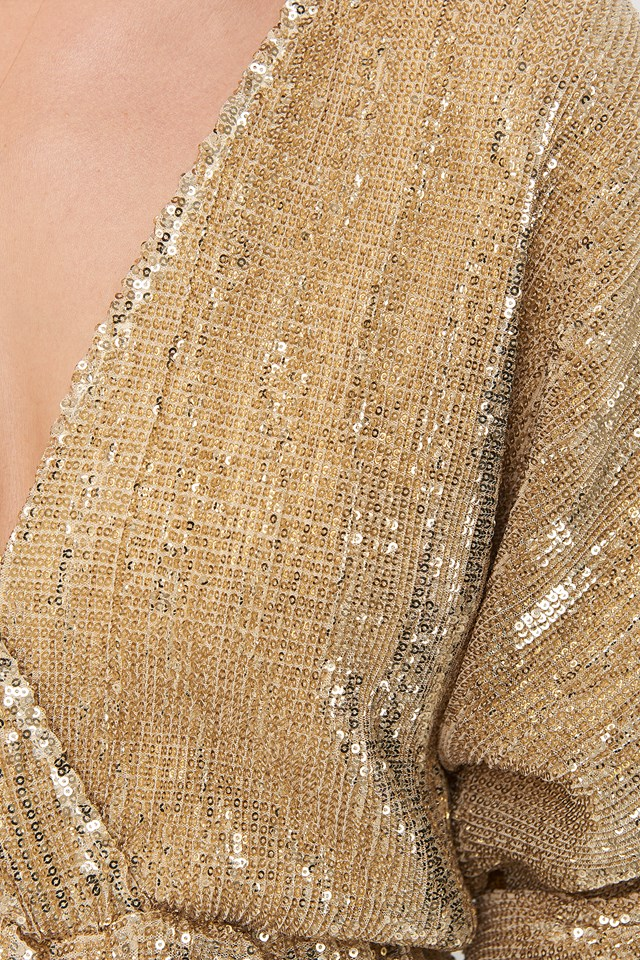 Balloon Sleeve V-Neck Sequin Blouse Gold