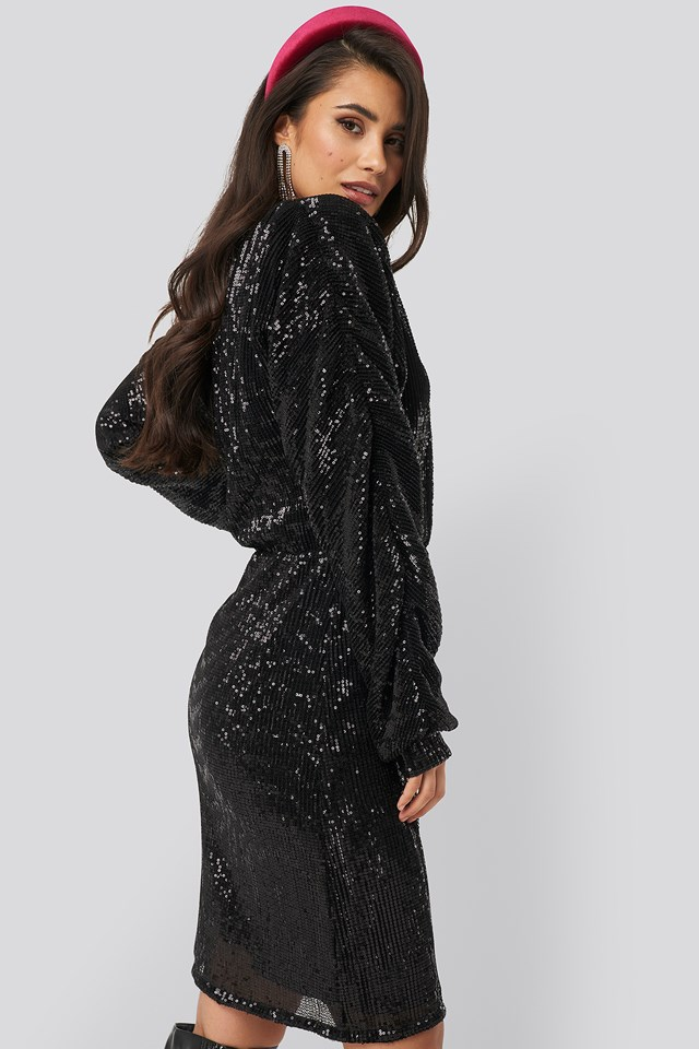 Balloon Sleeve V-Neck Sequins Dress Black