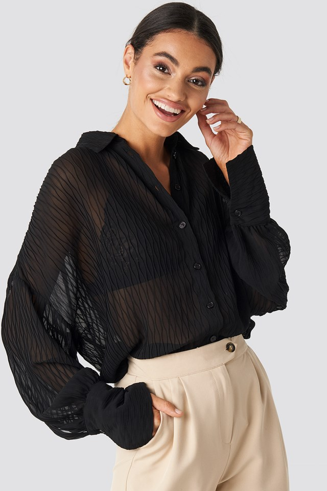 Balloon Sleeve Wavy Blouse Black