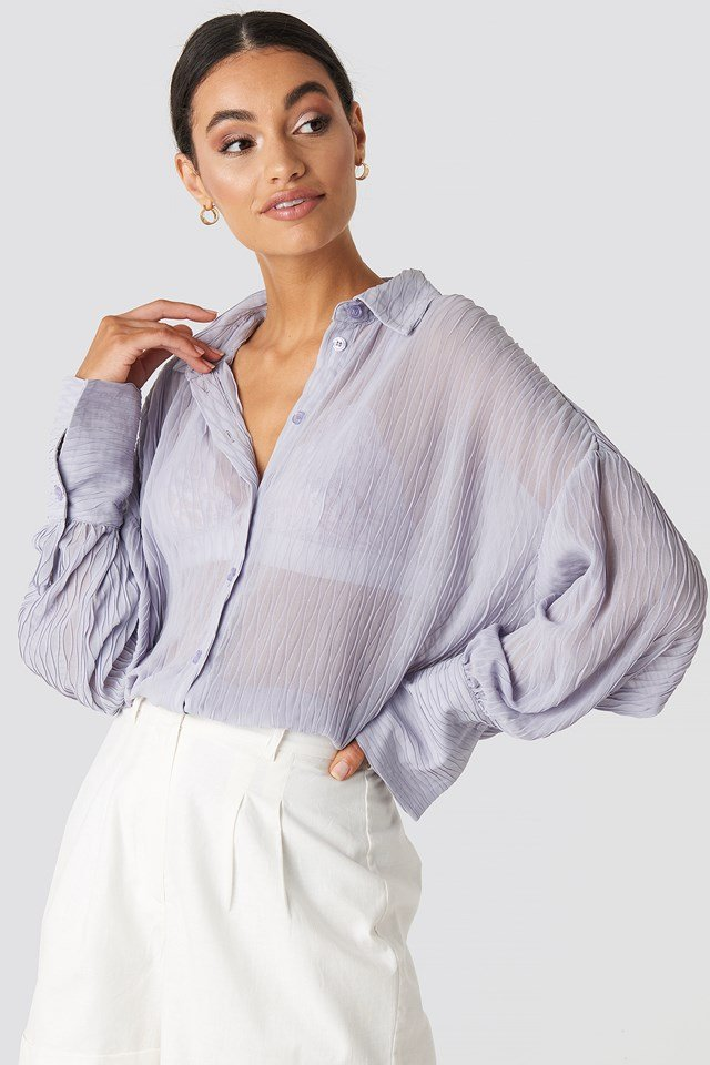 Balloon Sleeve Wavy Blouse Dusty Lilac