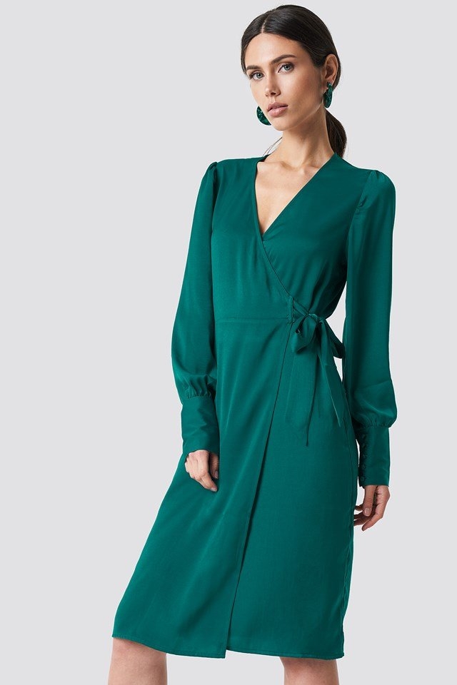 Balloon Sleeve Wrap Over Dress Emerald Green