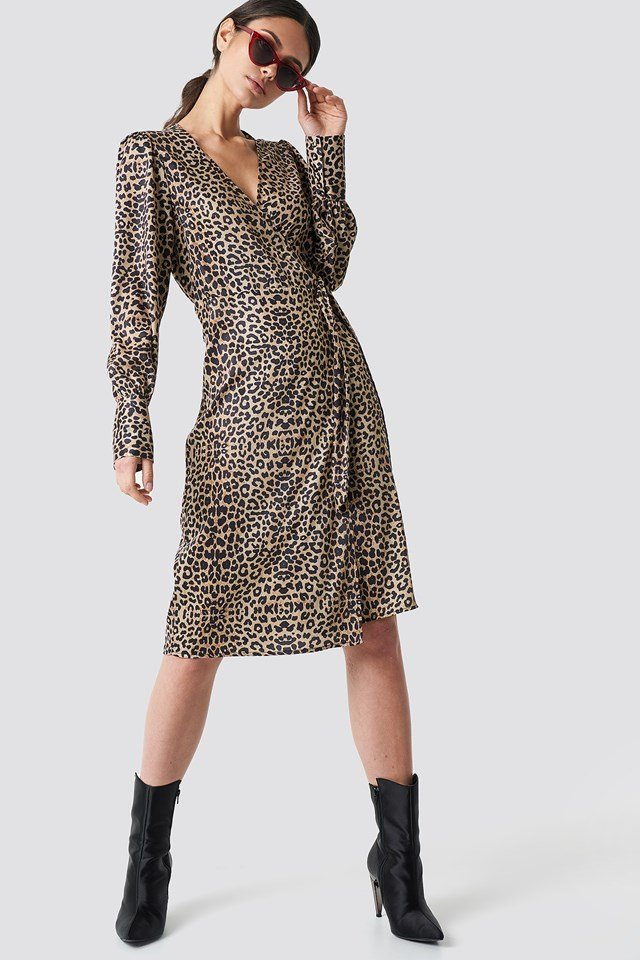 Balloon Sleeve Wrap Over Dress Leoprint