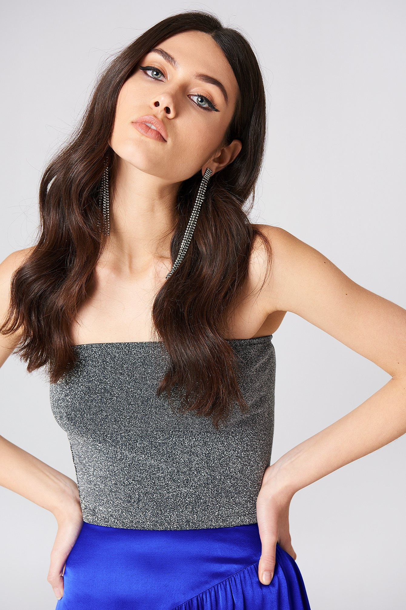 na-kd party -  Bandeau Glittery Top - Silver