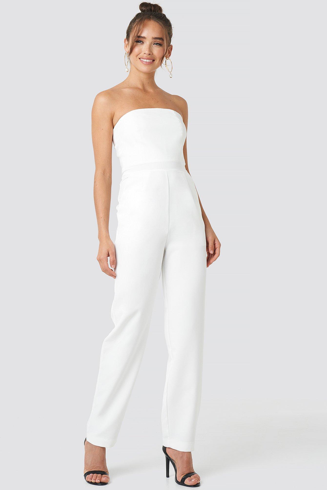 na-kd party -  Bandeau Jumpsuit - White